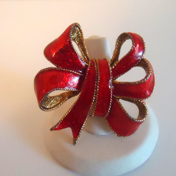 Red Enamel Bow Statement Ring