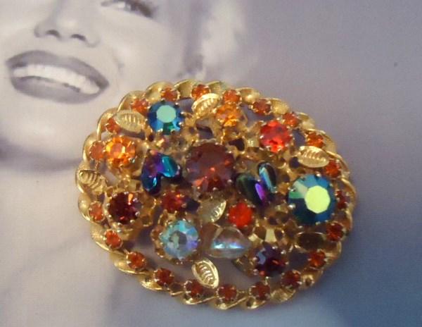 Austria Signed 1950's  Aurora Borealis  Heart Shaped Art Glass Brooch