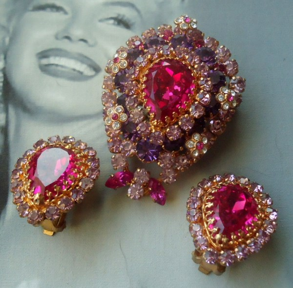 Austria Signed 1950's Brooch and Earrings Demi Parure