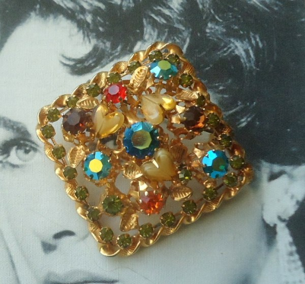 Austria Signed 1950's  Heart Shaped Art Glass Brooch