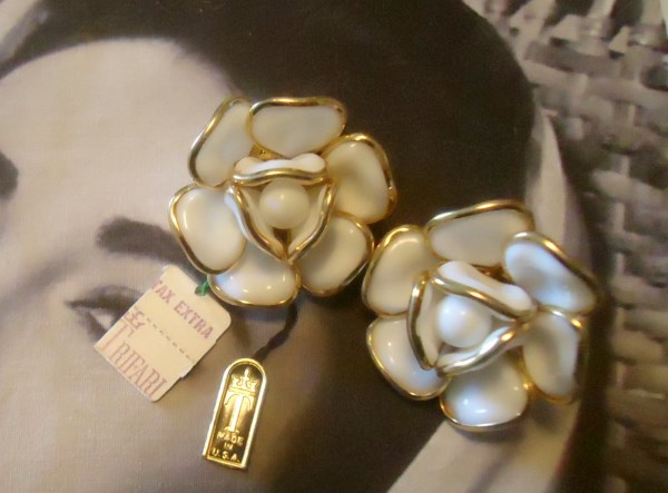 Trifari Signed 1952 White Camellia Poured Glass Earrings (Hand Molded) With Original Tags *SOLD*