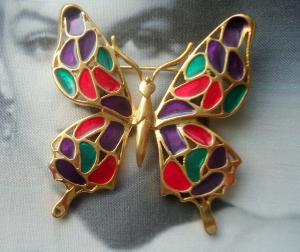 Trifari Signed Stained Glass Enamel Butterfly Figural Brooch *SOLD*