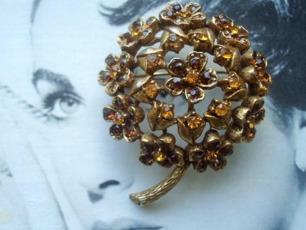 HAR Signed Antiqued Gold Domed Flower Brooch