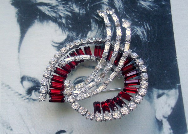 """Jay Flex Signed Sterling 1950's Large """"Shooting Star"""" Ruby Red Baguette Brooch*SOLD*"""
