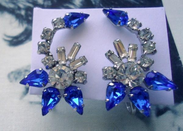 Jay Flex Signed Sterling 1950's Sapphire Blue Baguette Climber Earrings Bridal Wedding