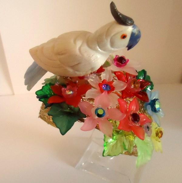 Sillimanite Cockatoo in a Garden of Lucite Flowers Statement Cuff
