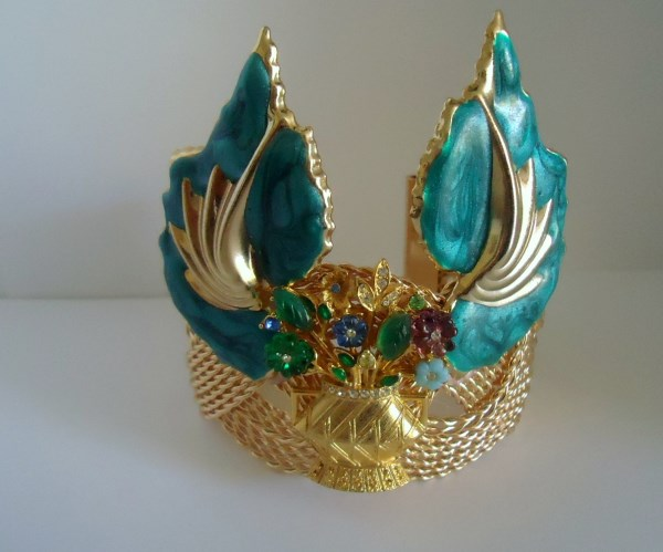 Flower Basket and Teal Guilloche Statement Cuff
