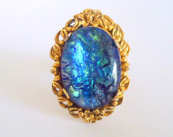 Retro Foil Art Glass Statement Ring *SOLD*