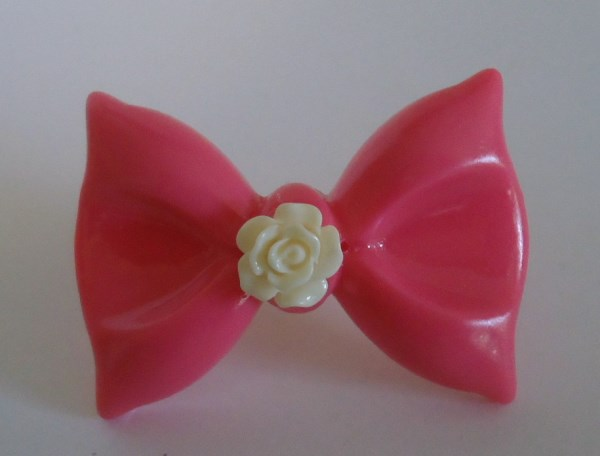 Hot Pink Celluloid Bow Statement Ring