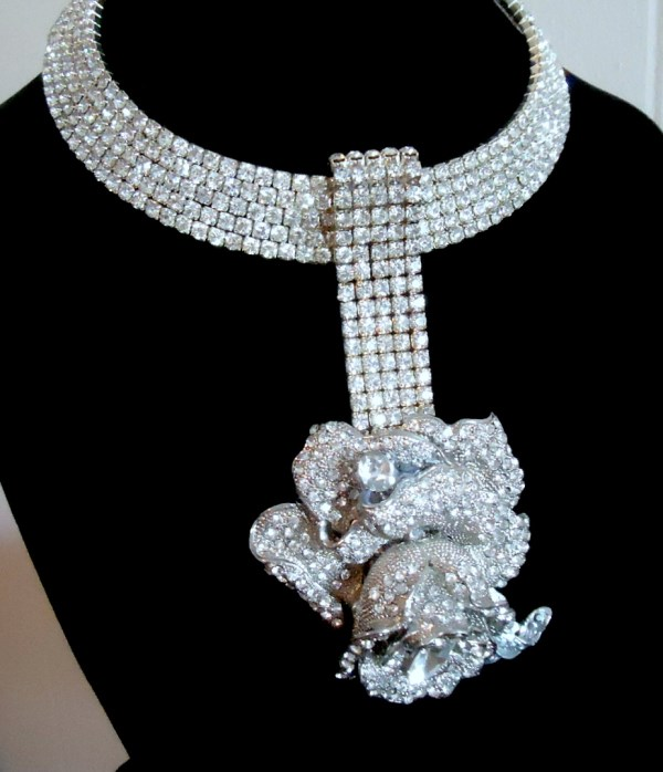 Rhinestone and Diamante Rose  Choker Statement Necklace