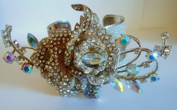 Huge Diamante Rose and Sparkly Silver Tone Cuff Bracelet