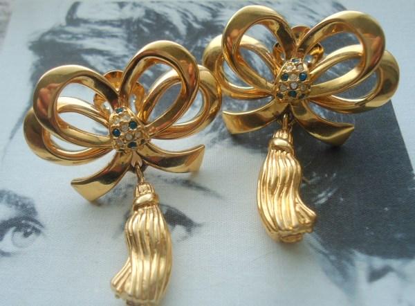 Dramatic Gold Tone and Rhinestone Bow Dangle Earrings