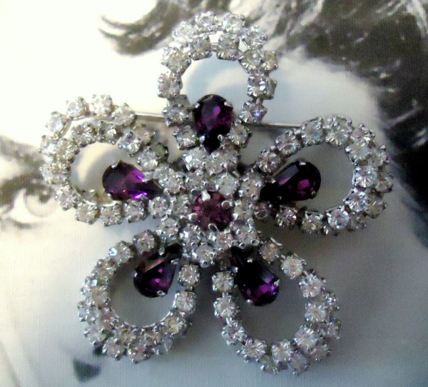Jay Flex Sterling Signed Tiered Brooch With Prong Set Amethyst Teardrops Circa 1950's