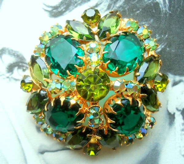 DeLizza and Elster a/k/a Juliana Domed Open Back Tiffany Prong Set Large Oval Emerald Glass Stone Brooch BOOK PIECE *SOLD*