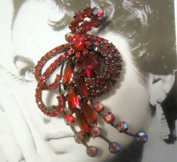 DeLizza and Elster a/k/a Juliana 1950's Garnet Red Spray Brooch EXTREMELY RARE *SOLD*