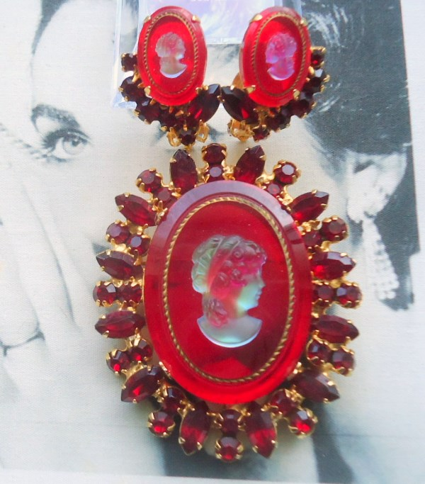 DeLizza and Elster a/k/a Juliana Ruby Red Intaglio Cameo Brooch and Earring Demi Parure RARE Book Piece *SOLD*