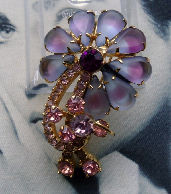 DeLizza and Elster a/k/a Juliana Dimensional Frosted Lavender and Pink Open Back Sabrina art glass a/k/a Givre flower figural brooch RARE *SOLD*