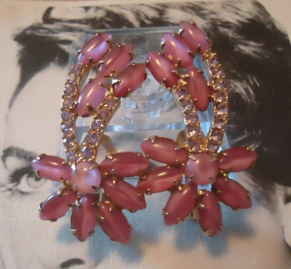 DeLizza and Elster a/k/a Juliana Elegant and Dramatic Pink Moonstone and Lavender Chaton Climber Earrings Circa 1950's