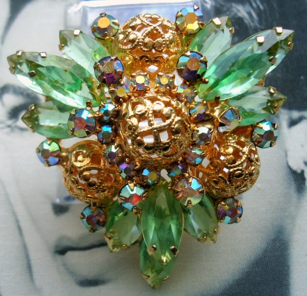 DeLizza and Elster a/k/a Juliana Periodot Filigree Ball Tiered Brooch BOOK PIECE