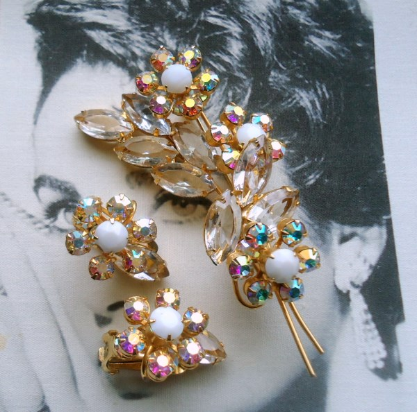 DeLizza and Elster a/k/a Juliana Open Back Navette Raised Rosette Flower Spray Brooch and Earring Demi Parure Circa 1950's Rare Set