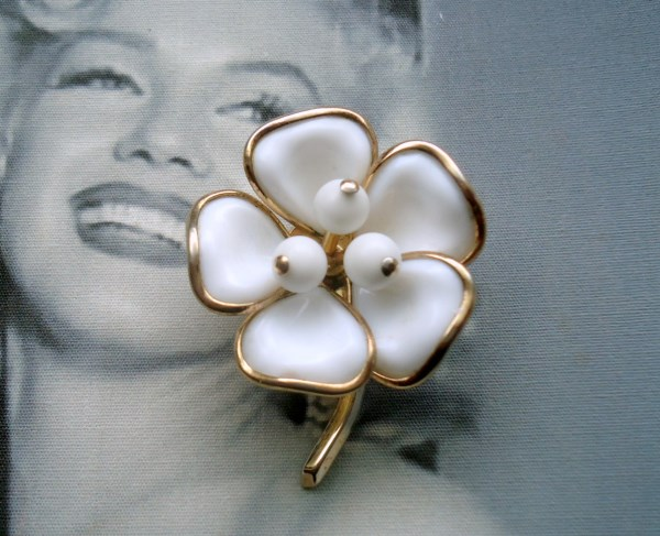 Trifari Signed 1952 Alfred Phillipe White Camellia Poured Glass Brooch (hand molded)
