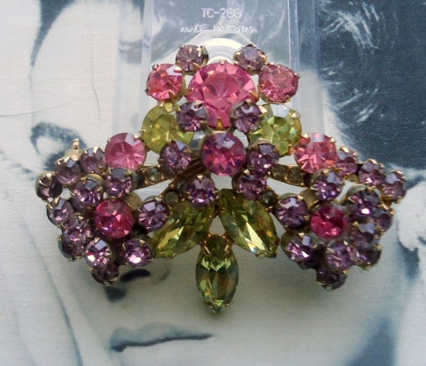 DeLizza and Elster a/k/a Juliana Riveted Rosette and Rhinestone Brooch 1950's