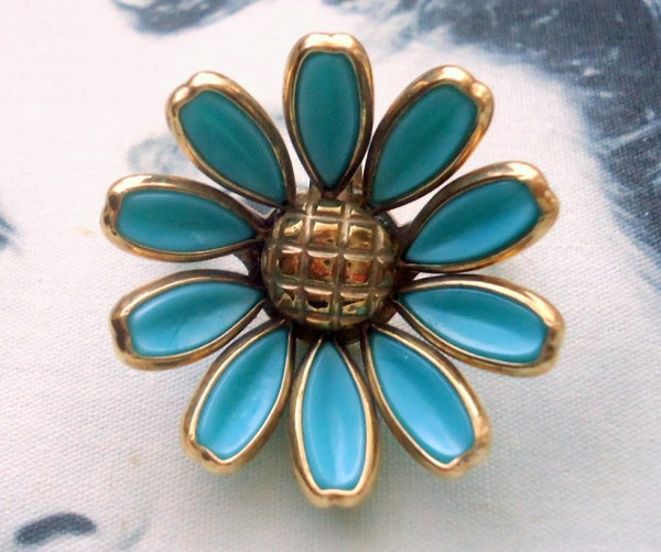 Trifari signed Alfred Phillipe Aqua Blue Poured Glass Daisy Flower Brooch and Pendant Circa 1950