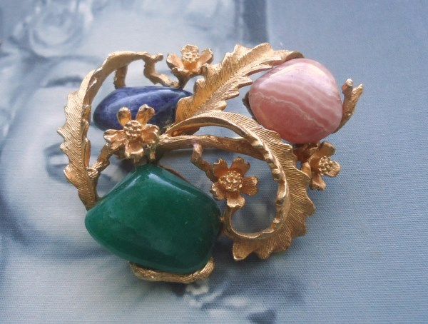 Coro Signed Genuine Polished Lapis, Jadeite and Pink Quartz Brooch Circa 1950's