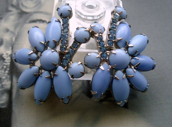 DeLizza and Elster a/k/a Juliana Cornflower Blue Cushion Navette Climber Earrings 1950's