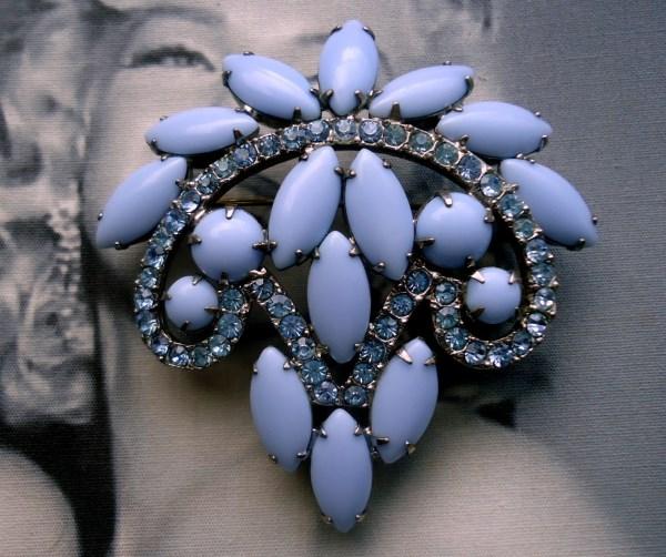 DeLizza and Elster a/k/a Juliana Cornflower Blue Cushion Navette Brooch Circa 1950's
