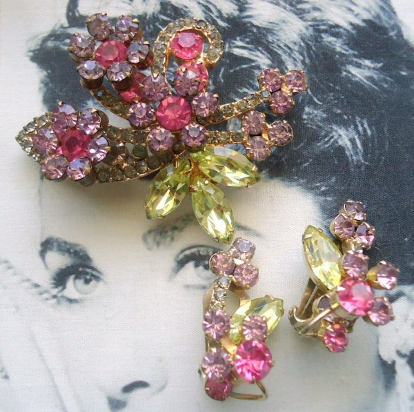 DeLizza and Elster a/k/a Juliana Raised Rosette Brooch and Climber Earring Demi Parure Circa 1950