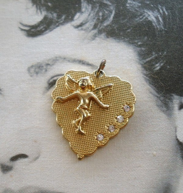 Betsey Johnson signed Mesh Texture Cupid Heart Charm Pendant *SOLD*