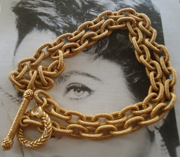 Jay Strongwater signed Toggle Clasp Textured Book Chain Necklace *SOLD*