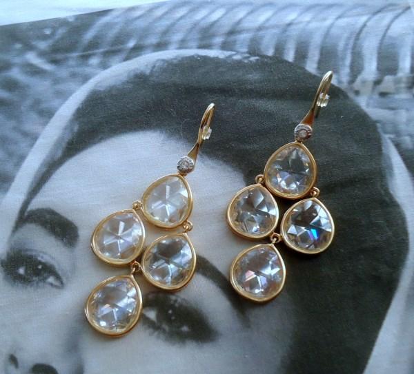Henri Bendel signed RARE Inverted Faceted Crystal Chandelier Dangle Pierced Earrings *SOLD*