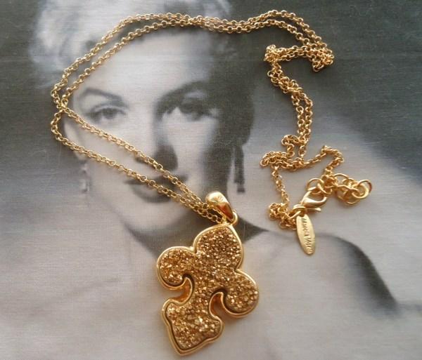 Marcia Moran signed Fleur De Lis Gold Druzy Agate (Pyrite) Long Pendant Necklace 18K Gold Plated *SOLD*