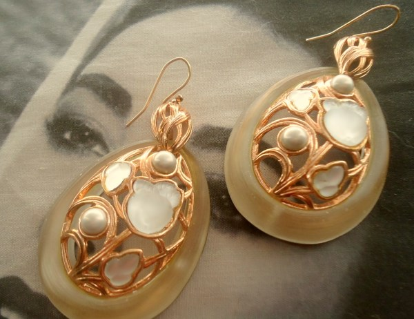 Alexis Bittar signed RARE Lucite Satin Fruit Salad Art Glass and Pearl Dangle Rose Gold Tone Pierced Earrings