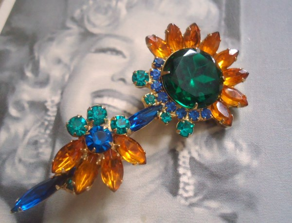 DeLizza and Elster a/k/a Juliana Flower Figural Brooch VERY RARE