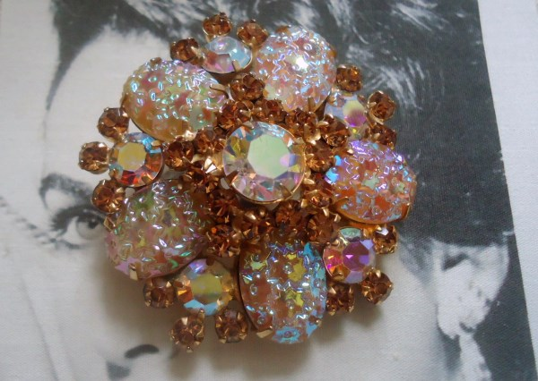 DeLizza and Elster a/k/a Juliana Pressed Glass Floral Pattern from Germany Brooch