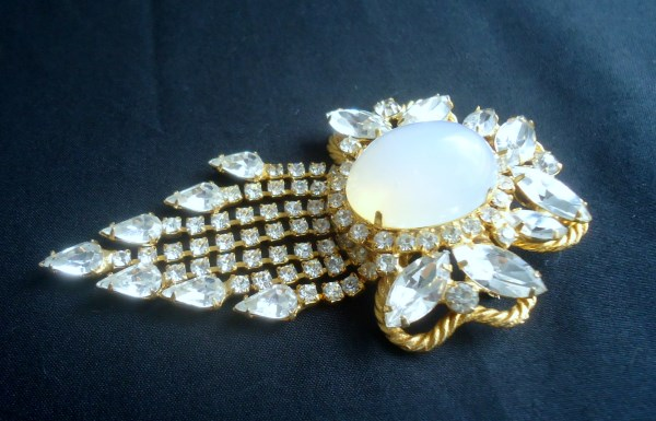 DeLizza and Elster a/k/a Juliana Open Back Opalescent Domed Cabochon Dangle Brooch (HUGE AND DRAMATIC) Bridal Wedding *SOLD*