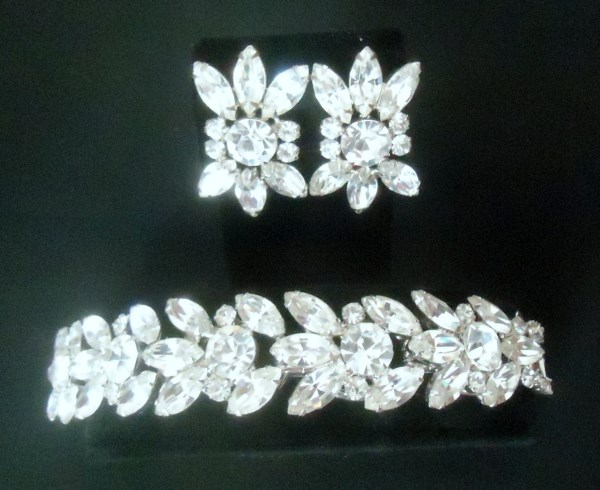 DeLizza & Elster a/k/a Juliana 5 Link Clear Rhinestone Splendor Bracelet and Earrings Demi RARE HUGE and STUNNING *SOLD*