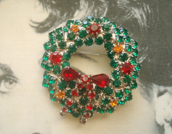 Unsigned Beauty. Tiered Christmas Wreath Brooch Encrusted with Brilliant Chatons and Ruby Red Bow MERRY CHRISTMAS! *SOLD*