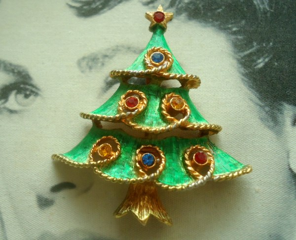 JJ Signed Guilloche Enamel Tiered Christmas Tree Brooch