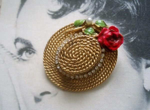 """BSK """"My Fair Lady"""" Eliza Doolittle Flower Hat Figural Brooch (RARE)"""