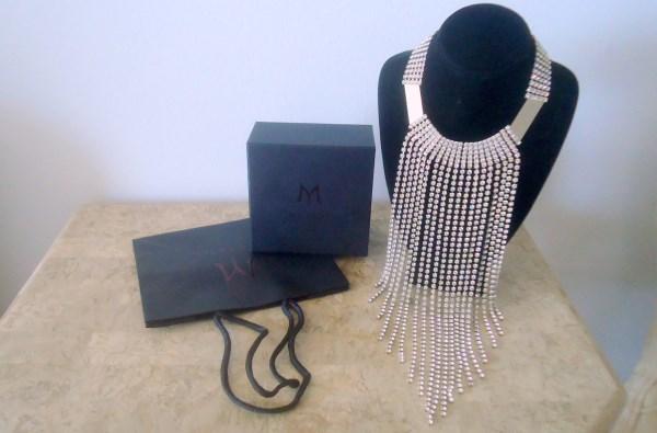 Designer Santini Mavardi a/k/a Mvardi of Dubai Drippy Swarovski Crystal Waterfall Choker of Statement Chic with Box and Bag