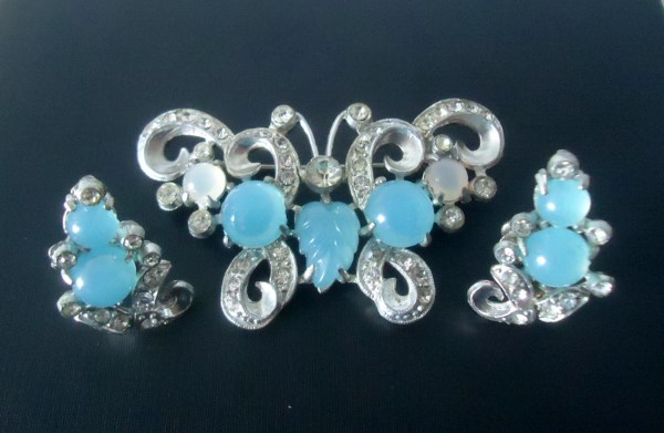 Circa 1930's Pot Metal Butterfly Brooch and Matching Earrings Fruit Salad and Moonstone Art Glass Demi Parure