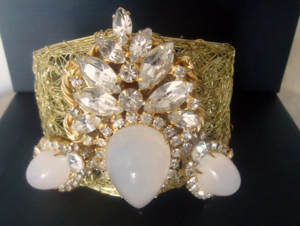 Majestic Runway Statement Cuff of Delizza and Elster a/k/a Juliana Opalescent Moonstone Findings One of a Kind *SOLD*