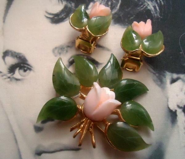 Swoboda Signed Genuine Angel Skin Coral Carved Rosebud and Carved Jade Leaf Brooch and Earring Demi Parure