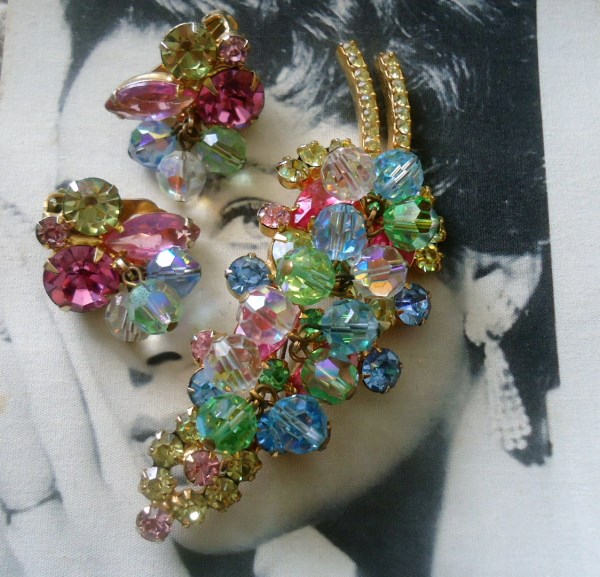 DeLizza and Elster a/k/a Juliana Pastel Dangle Bead Brooch and Earring Demi Parure
