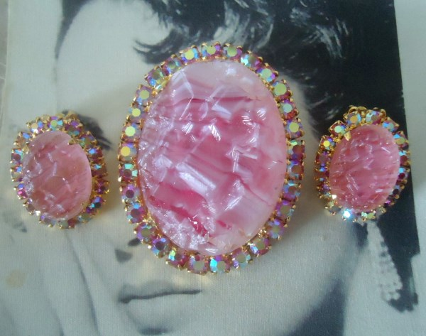 DeLizza and Elster a/k/a Juliana Oval Geode Rose Quartz Brooch Pendant and Earring Demi Parure