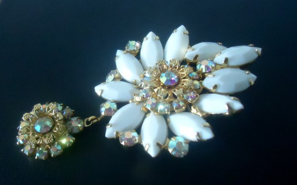 DeLizza and Elster a/k/a Juliana Open Back Milk Glass Navettes with Flower Findings Dangle Brooch Pendant VERY RARE